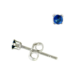 Sterling Silver 2mm Round Stud Earrings with Sapphire CZ