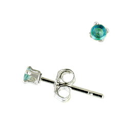Sterling Silver 2mm Round Stud Earrings with Aquamarine CZ