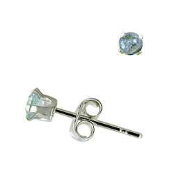 Sterling Silver 3mm Round Stud Earrings with Lavender CZ
