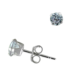 Sterling Silver 4mm Round Stud Earrings with Lavender CZ