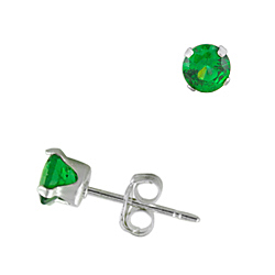 Sterling Silver 4mm Round Stud Earrings with Emerald CZ
