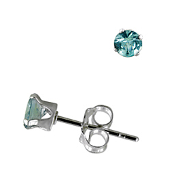 Sterling Silver 4mm Round Stud Earrings with Aquamarine CZ