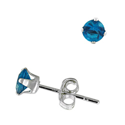 Sterling Silver 4mm Round Stud Earrings with Blue Topaz CZ
