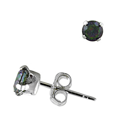 Sterling Silver 4mm Round Stud Earrings with Rainbow Topaz CZ