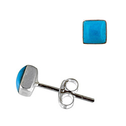 Sterling Silver 5mm Square Stud Earrings with Synthetic Turquoise