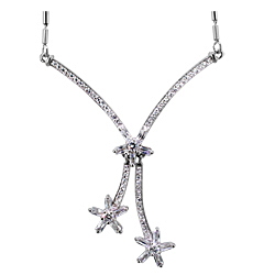 Sterling Silver Three Flowers Necklace with White CZ on 1.5mm Bar Chain
