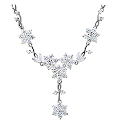 Sterling Silver Flowering Vine Necklace with White CZ on 3mm Cable Chain