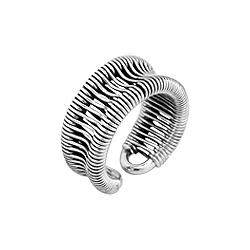 Sterling Silver Concave Wire Adjustable Ring