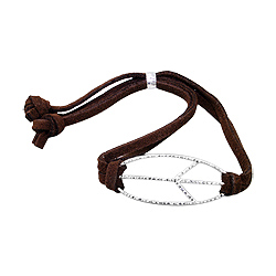 Sterling Silver Open Peace Sign Bracelet on Brown Faux Suede Cord