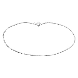 Sterling Silver Faceted 1mm Ball Chain Anklet