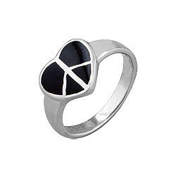 Sterling Silver Heart Peace Sign Ring with Black Onyx Inlay