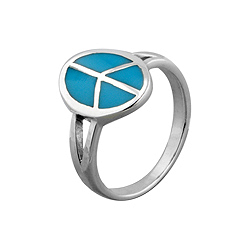 Sterling Silver Oval Peace Sign Ring with Turquoise Inlay