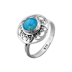 Sterling Silver Lace Curls Round Ring with Turquoise Inlay