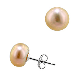Sterling Silver 9mm Cultured Freshwater Peach Button Pearl Stud Earrings