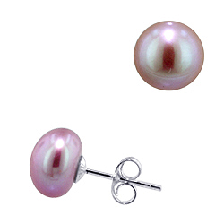 Sterling Silver 9mm Cultured Freshwater Lavender Button Pearl Stud Earrings