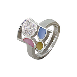 Sterling Silver Rectangular Ring with Multicolor Mother of Pearl and White Cubic Zirconia Accents