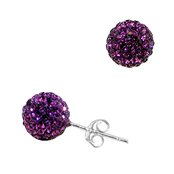 Sterling Silver 8mm Disco Ball Stud Earrings with Purple Crystal Glass
