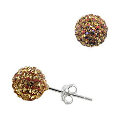 Sterling Silver 8mm Disco Ball Stud Earrings with Golden Crystal Glass