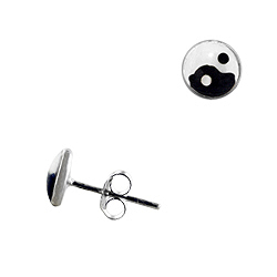 Sterling Silver 7mm Yin and Yang Stud Earrings with Black and White Enamel