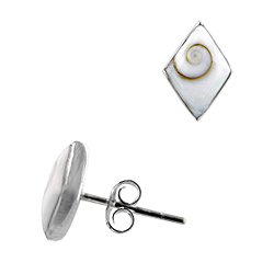 Sterling Silver and Eye of Shiva Shell 11x8mm Diamond Shaped Stud Earrings