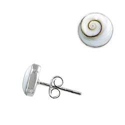 Sterling Silver and Eye of Shiva Shell 8mm Round Stud Earrings