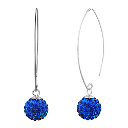 Sterling Silver and Blue Crystal Class 10mm Round Disco Ball Dangle Earrings