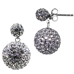 Sterling Silver and White Crystal Class 12mm Grey Round Disco Two-Ball Stud Earrings