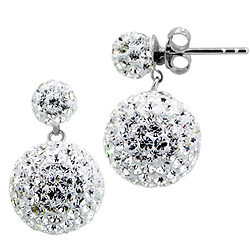 Sterling Silver and White Crystal Class 12mm Round Disco Two-Ball Stud Earrings
