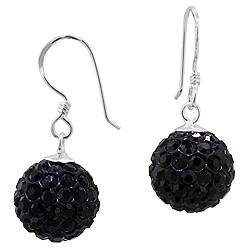 Sterling Silver and Black Crystal Glass 12mm Round Disco Ball Dangle Earrings