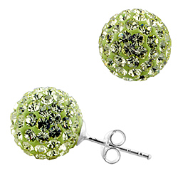 Sterling Silver and Citrine Crystal Glass 12mm Round Disco Ball Stud Earrings