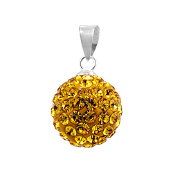 Sterling Silver and Yellow Crystal Glass 12mm Round Disco Ball Pendant