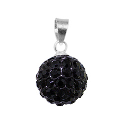 Sterling Silver and Black Crystal Glass 12mm Round Disco Ball Pendant