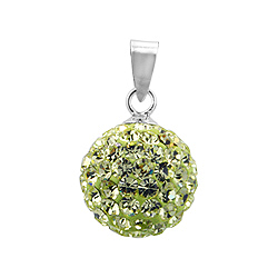 Sterling Silver and Citrine Crystal Glass 12mm Round Disco Ball Pendant