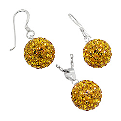 Sterling Silver and Yellow Crystal Glass 12mm Disco Ball Pendant and Dangle Earrings Set