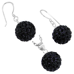 Sterling Silver and Black Crystal Glass 12mm Disco Ball Pendant and Dangle Earrings Set