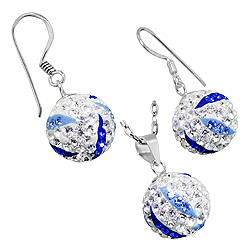Sterling Silver and White, Blue, and Dark Blue Crystal Glass 12mm Disco Ball Pendant and Dangle Earr