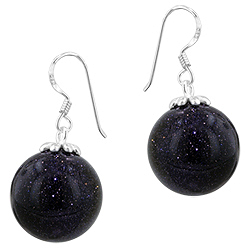 Sterling Silver and Sparkling Black Onyx 16mm Ball Dangle Earrings