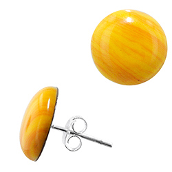 Sterling Silver and Yellow Onyx 13mm Round Stud Earrings