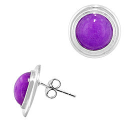 Sterling Silver and Bezel Set Phosphosiderite 15mm Round Stud Earrings