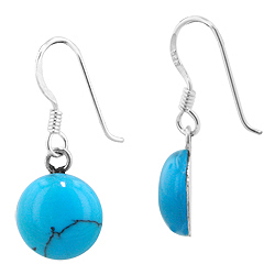 Sterling Silver and Synthetic Turquoise 10mm Round Dangle Earrings