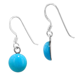 Sterling Silver and Synthetic Turquoise 8mm Round Dangle Earrings