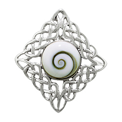 Sterling Silver Diamond -Shaped Celtic Style Pendant with Eye of Shiva Shell Inlay