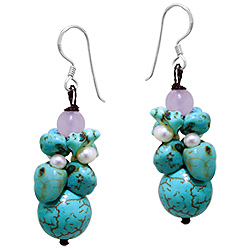Sterling Silver Bunch of Beads Dangle Earrings with Reconstructed Turquoise, Freshwater Pearls and M
