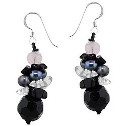 Sterling Silver Bunch of Beads Dangle Earrings with Faceted Black Onyx, Freshwater Pearls, Glass, an