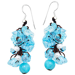 Sterling Silver Bead Cascade Dangle Earrings with Glass Beads and Simulated Pearls