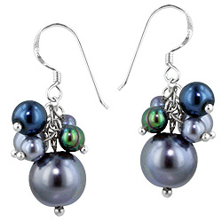 Sterling Silver Bunch of Beads Dangle Earrings with Freshwater and Simulated Pearls