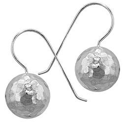 Sterling Silver 16mm Hammered Ball Dangle Earrings