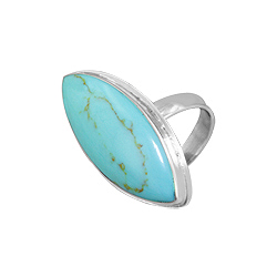 Sterling Silver and Bezel Set Reconstructed Turquoise Pointed Oval Ring