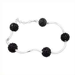 Sterling Silver and Black Crystal Glass Disco Ball Wave Bracelet, 7""