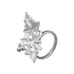 Sterling Silver Grape Vine Leaves Ring